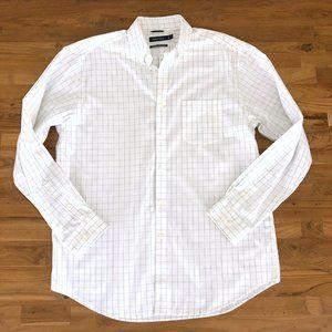 NAUTICA Men's White Long Sleeve Dress Shirt Lg